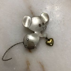 Vintage Sterling Silver Mexico Taxco Mouse Brooch